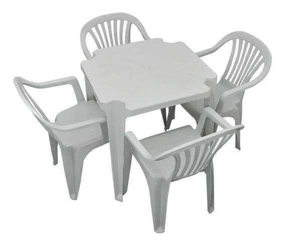 Conjunto Mesa 4 Cadeira Poltrona Branco 5 Jogos Antares