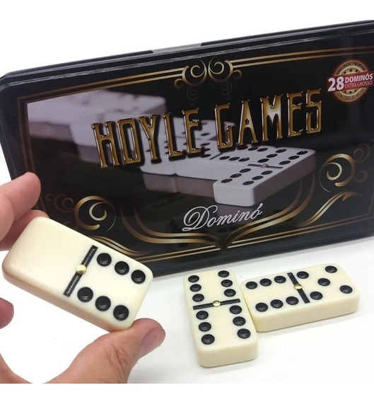 Domino Jogo 28 Peças Grossas Pino Metal Branco Tipo Osso Top