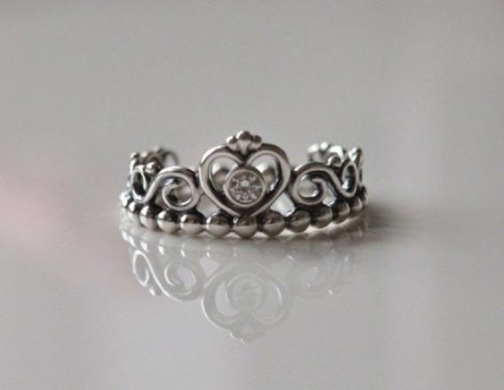 Anel Prata 925 Estilo Coroa Princesa Zirconia