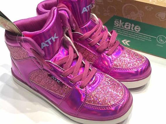 Zapatillas Botitas Nenas Deportivas Atomik Skate Brillos!
