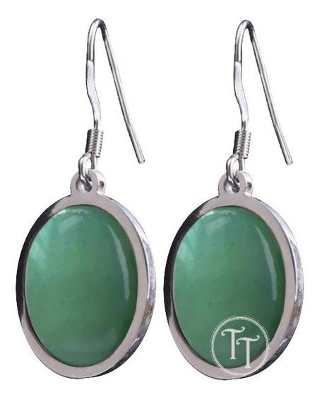 Aretes Jade Natural Titanio 18k Sol