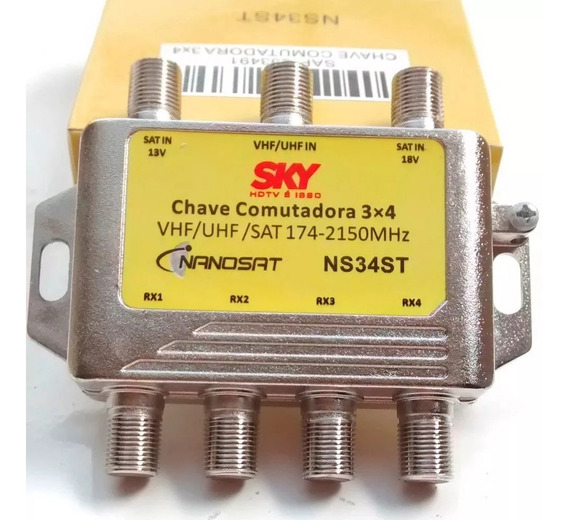 Chave Comutadora 3x4 - Diplexer - Divisor 5 Pçs