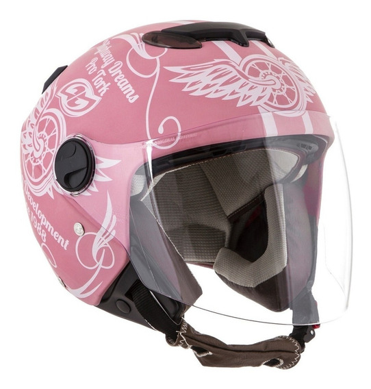 Capacete para moto aberto Pro Tork New Atomic Highway Dreams rosa-mate tamanho 56