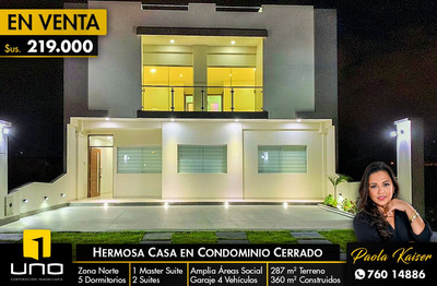 Casa A Estrenar En Condominio Privado Zona Norte