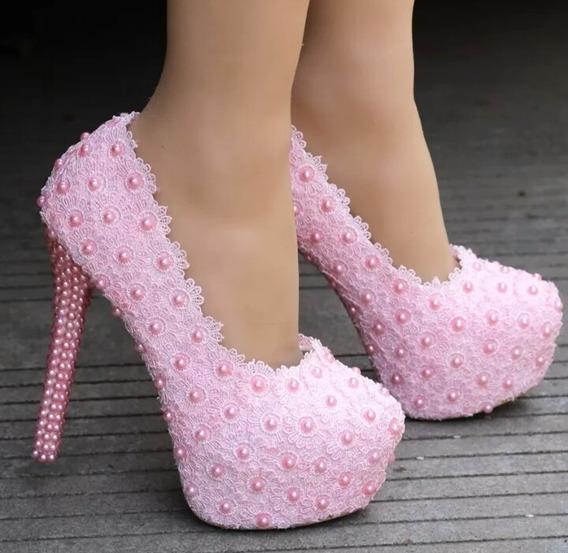 Sapato Debutante Rosa Festa Perola Personalizado Renda
