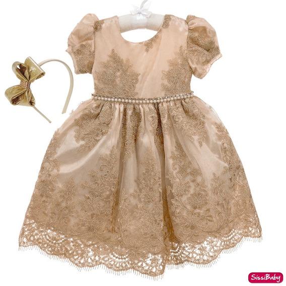 Vestido Infantil Dourado Realeza Daminha Luxuoso E Tiara