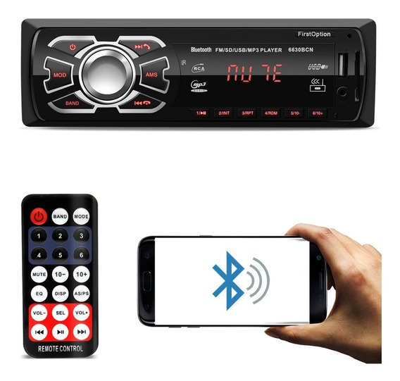 Toca Radio Auto Motivo Mp3 Player First Option Bluetooth