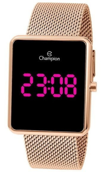 Relógio Champion Unissex Digital Ch40080h Rose Quadrado Led Pink + Nota Fiscal + Garantia Champion