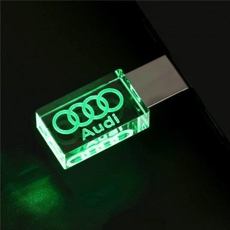 Pen Drive 16gb Cristal De Led Audi Verde + Caixa Portátil