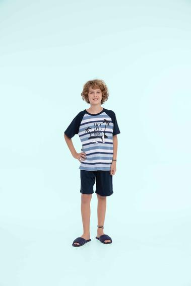Pijama Masculino Infantil Algodão Navy - Ref. 13128