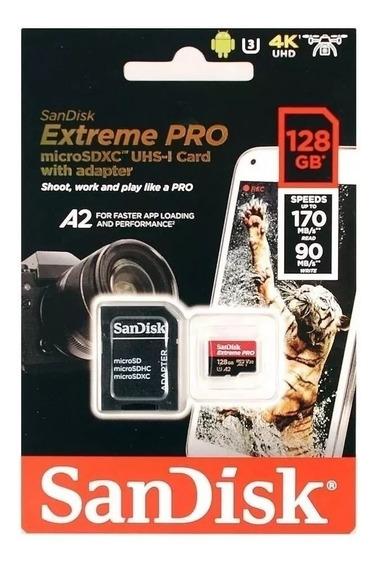 Cartão Microsd Sandisk Extreme Pro 128gb 170mb/s Gopro Hero 4 Hero 5 Hero 6 Hero 7 Drone 4k Samsng Galaxy S8 S9 S10 Moto