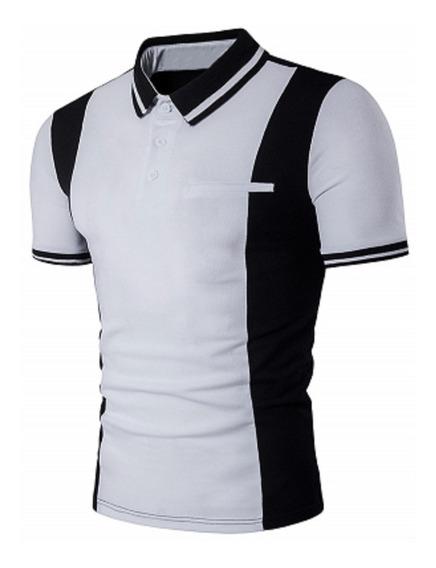 Playera Slim Fit Tipo Polo Moderna White