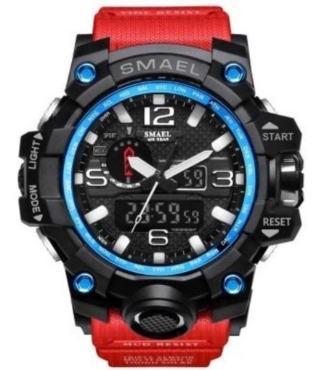 Reloj Militar Smael 1545 Shock Táctico 50m Sumergible Rojo
