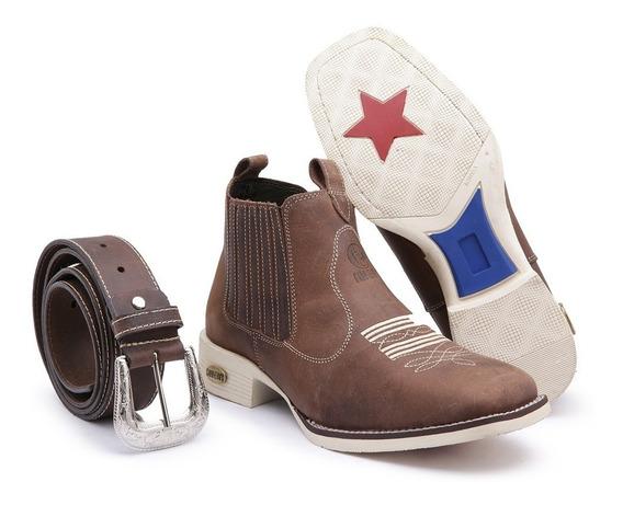 Kit Botina Country Texana Bico Quadrado Sola Branca + Cinto