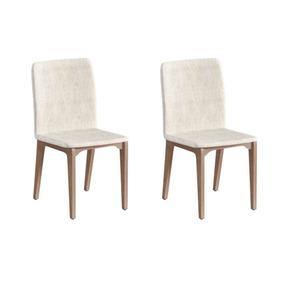 Conjunto Com 6 Cadeiras Brigatto Marina Avelã E Palha