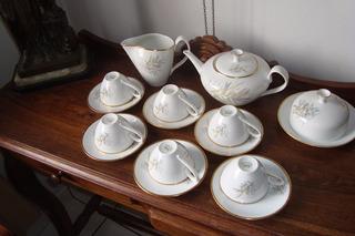 Jogo De Chá Antigo Da Porcelana Renner,decoração Com Dourado