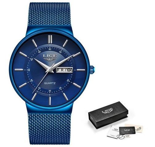 Relógio Masculino Lige Luxo Slim Casual Top 100% Original