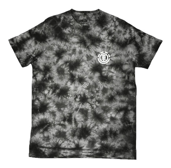 Remera M/c Element Dye Washed Tee Black White Hombre