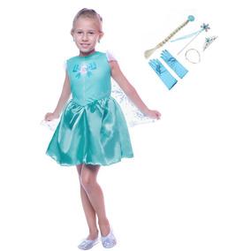 Vestido Princesa Elsa- Frozen Para Meninas
