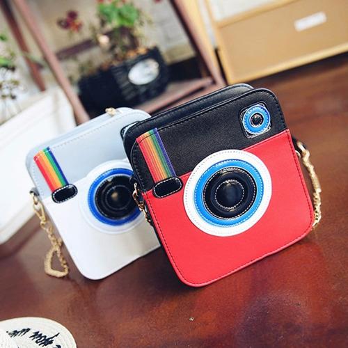 Moda Feminina Ins Instagram Câmera Engraçada Mini Bolsa De M