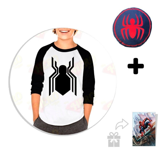 Kit Playera Raglan Niño Spiderman + Peluche + Sticker Regalo