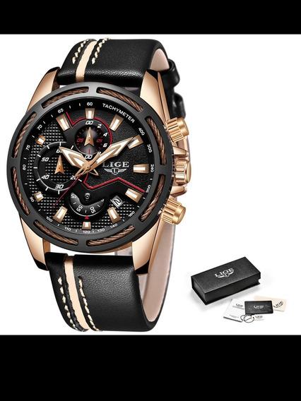 Relógio De Pulso Masculino Lige Couro Black
