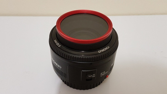 Lente Yongnuo Yn 50mm F/1.8 Para Canon + Filtro Uv Red Frame
