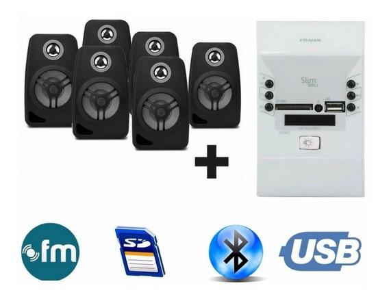 Som Ambiente Bluetooth + 6 Caixas Pretas Suporte Parede