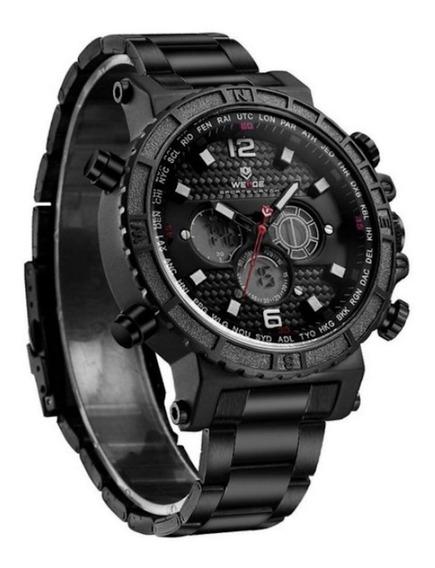 Relógio Masculino Weide Preto Original Garantia De 1 Ano