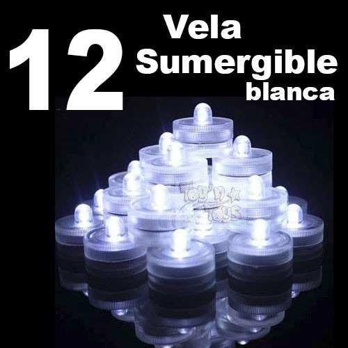 Imagen 1 de 9 de 12 Vela Led Sumergible Luz Blanca Centros Mesa Fiesta Boda