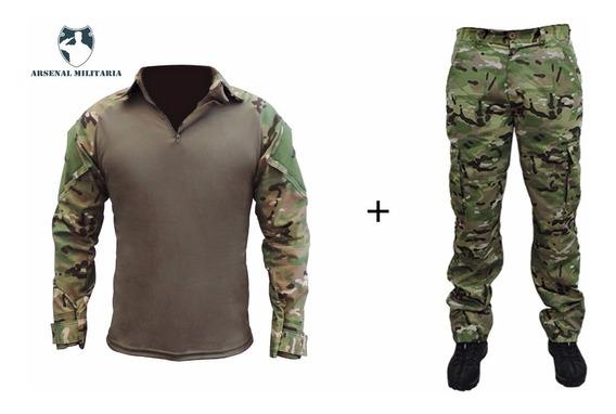 Farda Combat Shirt Multicam Camuflada Calça Rip Stop + Camis