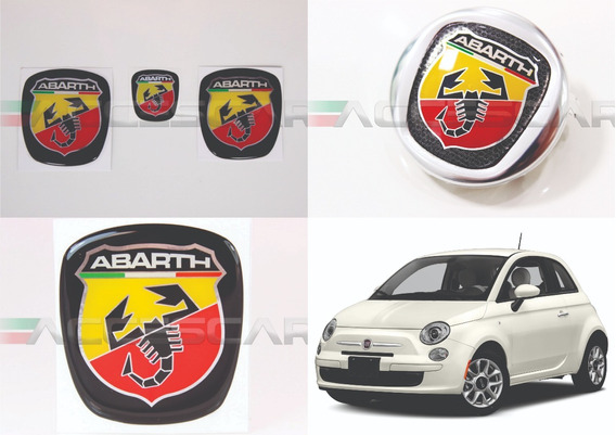 3 Adesivos Emblema Fiat Abarth 500 ( Frete Fixo )