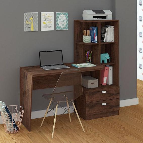 Mesa Para Computador Com 2 Gavetas E 5 Prateleiras Elisa P