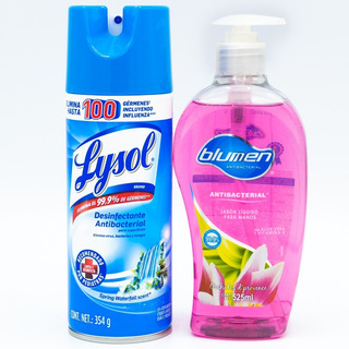 Jabon Para Manos Blumen + Desinfectante Lysol Spray Antibact