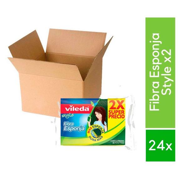 Caja C\24 Fibra Esponja Cocina Limpieza Trastes 2 Pzs Vileda