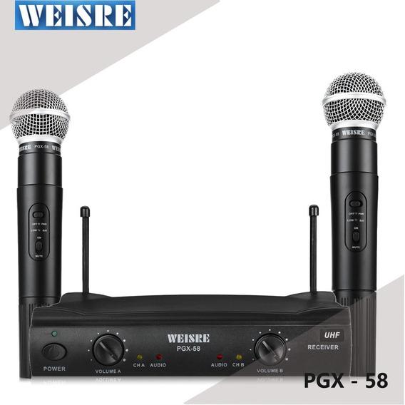 Microfone Duplo Sem Fio Omnidirecional Uhf Karaoke Pgx58