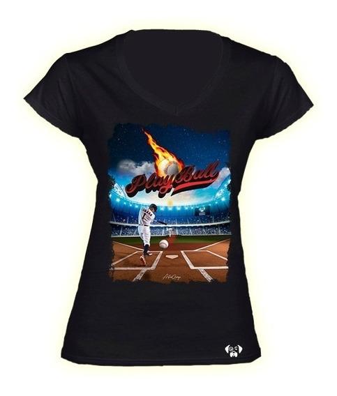 Sarcasmo-playera Dama Playball Baseball Dtg Beisbol