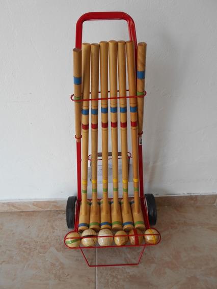 Juego De Croquet 72 Cm. En Carro De 6 Palos Tissus