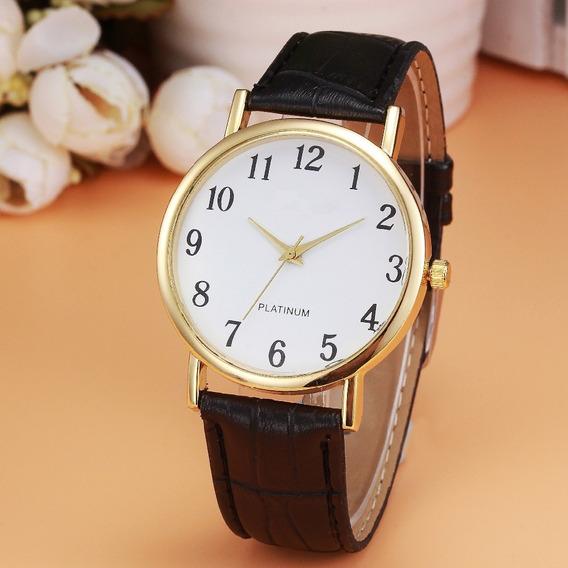 Relógio Unissex Geneva Platinum Com Pulseira De Couro