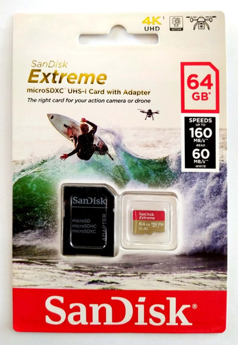 Sandisk Extreme 64gb Micro Sdxc + Sd Adp - Cl10 160mb/s U3