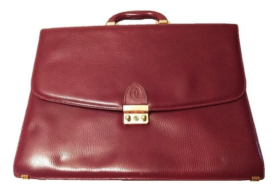 Maletín Ejecutivo Must De Cartier Legítimo Cuero Burdeos 520