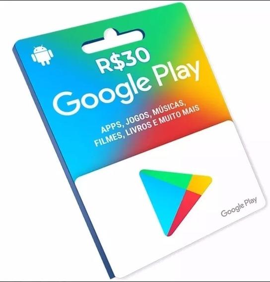 Cartão Google Play Store Gift Card R$30 Reais Envio Digital