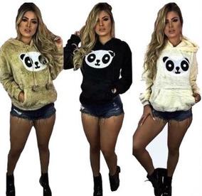 Combo 3 Blusa De Frio Pelúcia Feminina Panda Casaco Inverno