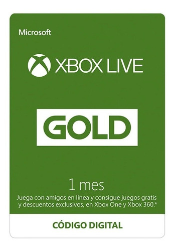 Imagen 1 de 1 de Membrecia Xbox Live Gold 1 Meses, Entrega Inmediata Oferta