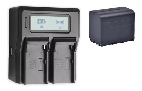 Carregador Duplo Digital Np-f970 +1 Bateria Np-f970 7200 Mah