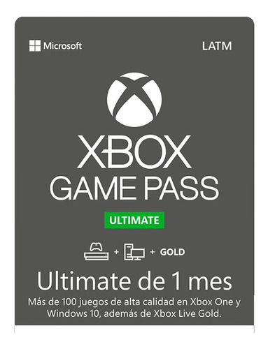 Xbox Game Pass Ultimate 1 Mes Xbox One