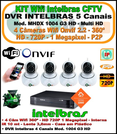 Kit Intelbras Nvr 5 Ch Multi Hd 1004 4 Câmeras Wifi 360 720p