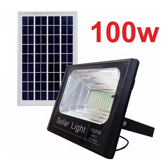 Kit 2 Refletor Holofote Led Solar 100w Real Ultra Placa