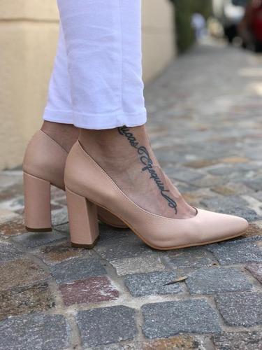 079f6168 Zapato Taco Ancho Nude - Zapatos en Mercado Libre Argentina