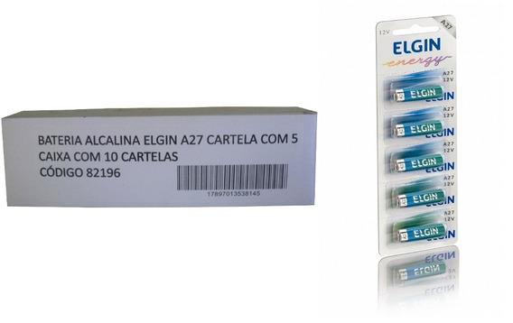 Bateria Alcalina A27 12v Elgin Caixa C/ 50 Unidades
